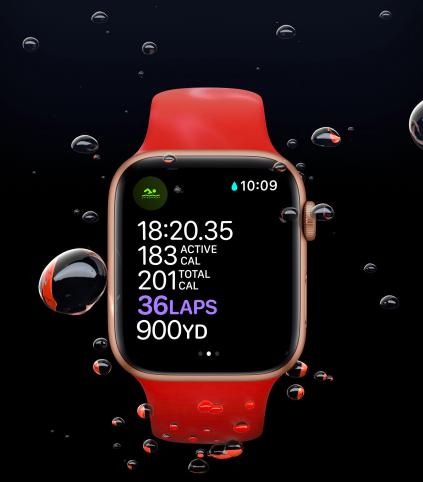 Apple watch Series 6 underwater showing lap count
