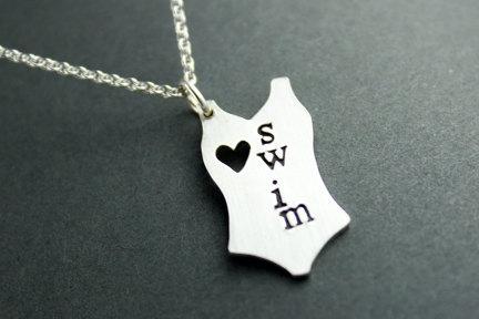 I love swimming silver necklace