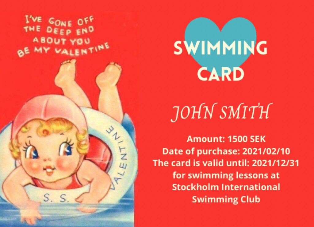 Stockholm International Swimming Club SISC Gift Card for Valentine's Day with retro girl swimming with an SS Valentine lifesaver